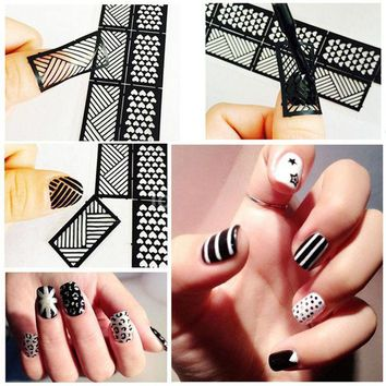 DCK9M2 1 Pcs Print Nail Art Sticker DIY Stencil Stickers For 3D Nails 24 Design Easy Stamping Template Manicure Supplies JH372
