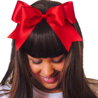 Snow White Big Satin Ribbon Hair Bow Headband Black