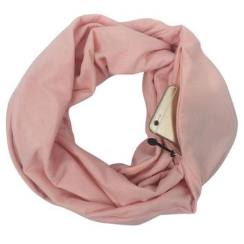 Double Layer Hidden Zipper Pocket Infinity Scarf (8 colors)
