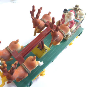 Vintage Santa Claus and Reindeer Train - Toy State - Christmas Decorations