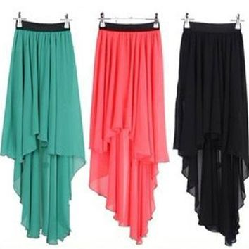 Sexy Women's Asym Hem Chiffon Asymmetrical Elastic Waist Long Maxi Dress Skirt