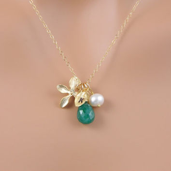 Birthstone Initial Necklace by myqjewelry