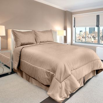 Veratex American Collection 300-Thread Count Solid 3-pc. Comforter Set - Twin (Beige/Khaki)