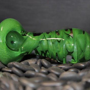 Extra Thick Green Handmade Heady Glass Pipe