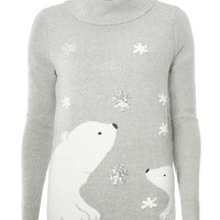 Grey Polar Bear Roll Neck Christmas Jumper | Dorothyperkins