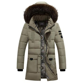 2016 New Men Duck Down Coat IN-YESON Brand Winter Jackets Mens Fur Collar Parkas Hooded Coat High Quality Casual Long Jacket
