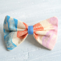 Hair Bow, Small Painted Sky Blue, Light red and Lilac Barrette Hairclip Hair Accessories for Girls Women