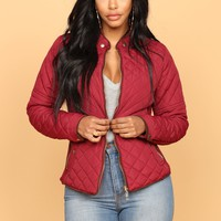 Evelyn Quilted Jacket - Burgundy