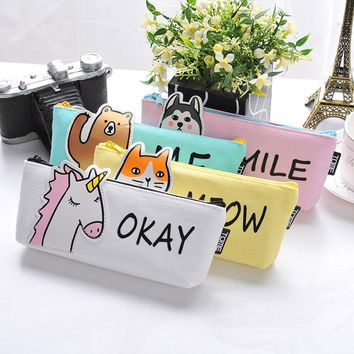 Animal Pencil Case Fabric School Supplies Bts Stationery Gift  School Cute Pencil Box Pencilcase Pencil Bag School Supply Tool
