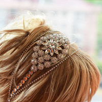 Bridal Rhinestone  Headband, wedding Headband, wedding Veil, Bridal Veil, Wedding Hair Accessory,  Bridal Hair Accessories