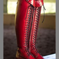 New Red Round Toe Rivet Sequin Fashion Knee-High Boots