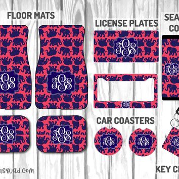 Lilly Pulitzer Tusk In Sun Car Mat /Plate & Frame / Seat belt cover / Key Chain / Car Coaster / Car Accessory Gift  Set