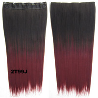 "Dip dye hairpieces New Fashion 24"" Women Clip in on gradient wig Bath & Beauty Hair Ombre Hair Extensions Two Tone Straight hair Gradient Hair Extension Colorful Hairpieces GS-666 2T99J,1PCS"