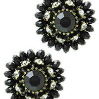 Black Flower Beaded Earrings