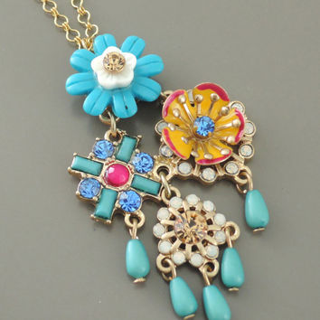 Statement Necklace - Rhinestone Necklace - Gold Necklace - Flower Necklace - Blue Necklace - Boho Necklace - Handmade Necklace