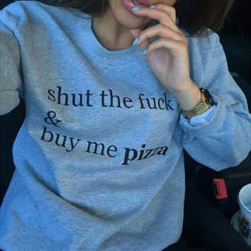 PEAPJ1A Gray round neck fashion personality sweater men and women with the same shut and buy me pizza