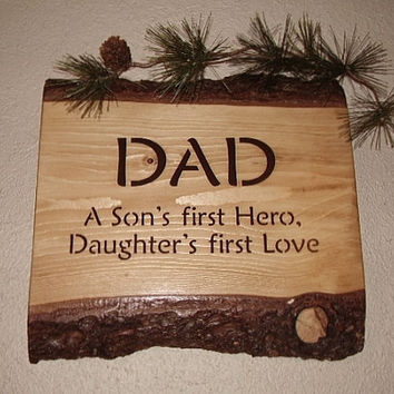 Rustic Dad Sign  A Son first Hero  Daughters by RUSTICNORTHERN