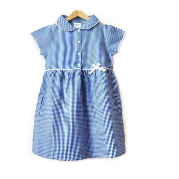 Girls Gingham Checked Summer School Dress - Blue - Junior Made from 100% pure organic cotton