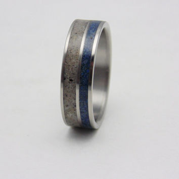 Titanium and Antler Wedding band  Antler and Lapis Lazuli inlay ring
