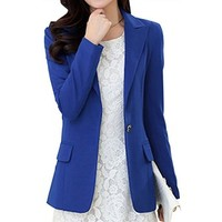 Partiss Womens Slim Fit Business Blazers,S,Blue