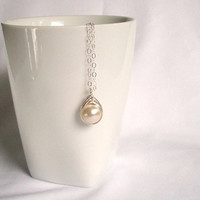 Single Pearl Necklace, Sterling Silver Swarovski Cream Pearl Pendant, Cream Wedding Dress, Wire Wrapped Jewelry Handmade