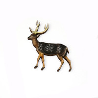 Deer Brooch, Woodland Illustration, Wood Jewelry, Animal Brooch