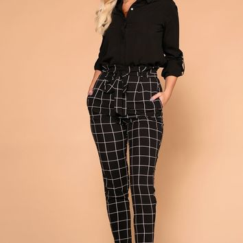 Shawna Black Tie-Front Checked Paperbag High Waisted Pants