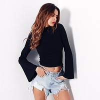 Women Simple Solid Color Turtleneck Long Sleeve  Pagoda Sleeve Bodycon Show Thin T-shirt Short Tops