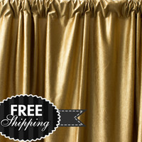 "Pair of 50"" Gold Curtain Panels, Satin Silk curtains, Drapery , Window Treatment, Custom Curtain length X 63 84 90 96 108 120"