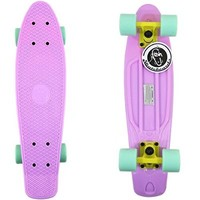 "22"" Pastel Purple Fish Skateboard Retro Yellow Truck Mint Wheels"
