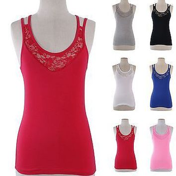 Solid & Lace Double Spaghetti Strap Layering Basic Seamless Camisole Tank Top