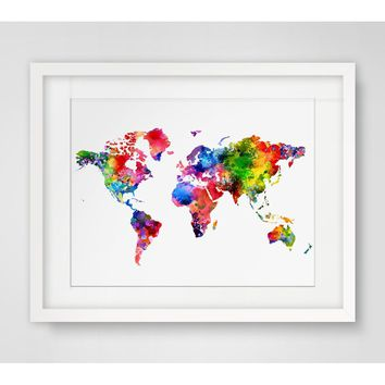 Watercolor World Map Art Poster Watercolor Painting Colorful The World Map Wall Art Wall Hanging Paper Home Decor No Frame