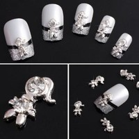 Yesurprise Little Girl 10 pieces Silver 3D Alloy Nail Art Slices Glitters DIY Decorations