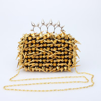 Punk Rivet Evening Bag Satin Clutch Purse Panelled Long Rivets Rings Knuckle Box Handbag Chain Cell Phone Pouch XA800A