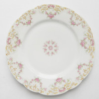 French Limoges Floral Dessert Plates, Set of 5, French Farmhouse, M.F. & Co., Cottage Style, Tea Party Plates