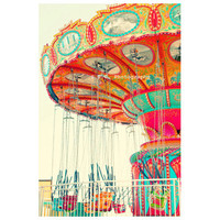 Carnival Photo. Bright art. Santa Cruz beach boardwalk. Colorful. Swings. Red. Orange. Mint. Blue. Pink. Yellow. Fun. Nursery Art. Happy