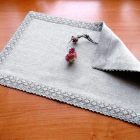 Fabric placemat with flax lace trimming Organic linen cotton blend cloth dinner table linens 45 cm x 30 cm