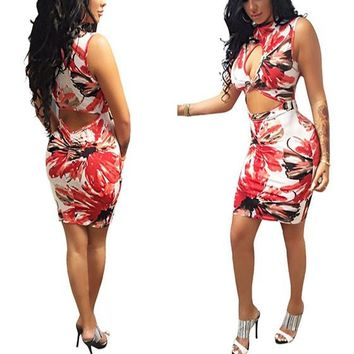 Multicolor Flowers Print Cut Out Band Collar Bodycon Homecoming Mini Dress