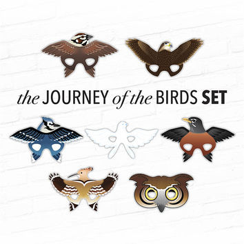 Journey of the Birds Masks, Animal Masks, Set of 7 Bird Masks,  Printable Costumes, Photo Booth Props, Printable Masks, Education Supplies