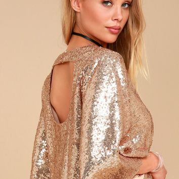 Captivate Rose Gold Sequin Crop Top