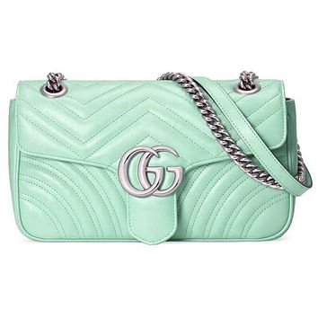 GUCCI Macaron marmont wave pattern double G buckle love Heart back Green