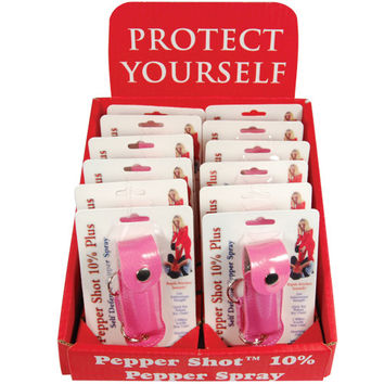 12 - Pepper Shot Pepper Spray Leatherette Pink with Counter Display