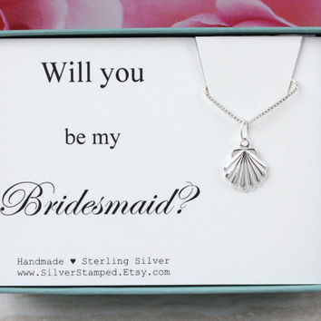 Will you be my Bridesmaid invite sterling silver neklace beach wedding gift for Bridesmaids gift box silver seashell
