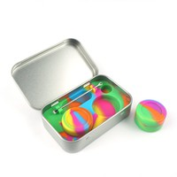 2-5ml Silicone Wax Container and Tools Container Jars Stainless Steel Wax discrete Tin With Extra Carrying Case (Rainbow)