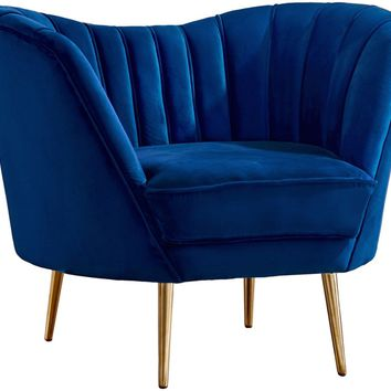 Margo Navy Velvet Chair Gold Stainless Legs