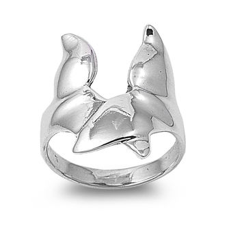 925 Sterling Silver Whale Fluke 23MM Ring