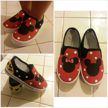 Custom Made Mickey and Minnie - Painted Shoes - Slip Ons