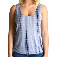 Dark Blue Tie Dye Piko Tank Top