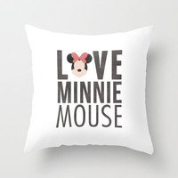 Love Minnie Mouse Throw Pillow by hopealittle