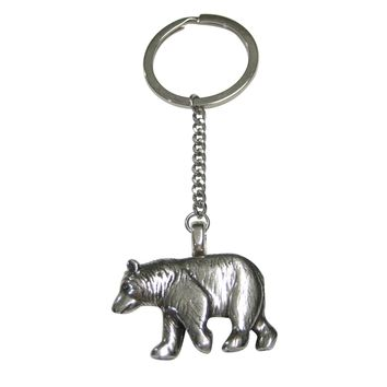 Silver Toned Walking Bear Pendant Keychain